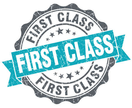 First class blue grunge retro style isolated seal photo
