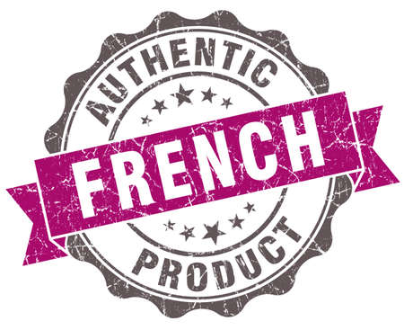 French product violet grunge retro style isolated seal Stock Photo