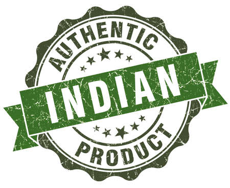 Indian product green grunge retro style isolated seal photo