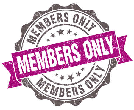 Members only violet grunge retro style isolated seal photo