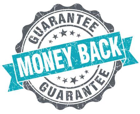 Money back blue grunge retro style isolated seal photo