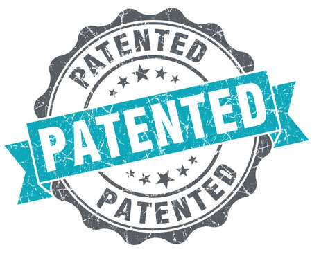 patent: Patented blue grunge retro style isolated seal