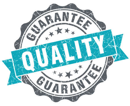 assure: Quality guarantee blue grunge retro style isolated seal
