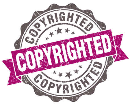 plagiarism: Copyrighted violet grunge retro style isolated seal Stock Photo