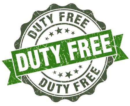 duty free: Duty free green grunge retro style isolated seal