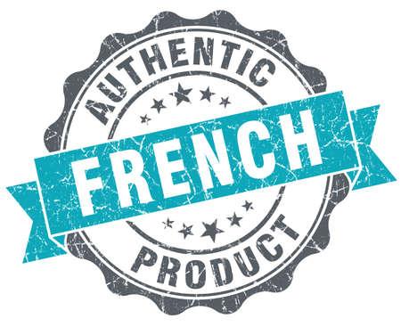 French product blue grunge retro style isolated seal photo