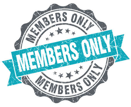 Members only blue grunge retro style isolated seal photo