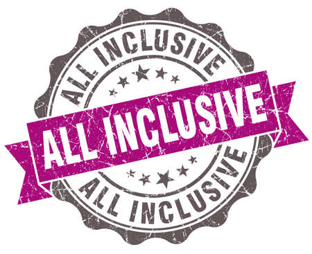 inclusive: all inclusive violet grunge retro style isolated seal