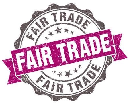 fairtrade: Fair trade violet grunge retro style isolated seal