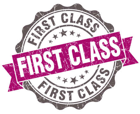 First class violet grunge retro style isolated seal photo