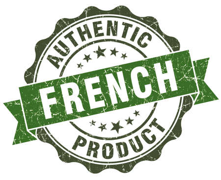 French product green grunge retro style isolated seal photo