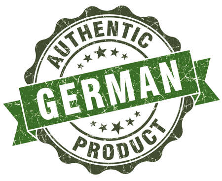 German product green grunge retro style isolated seal photo