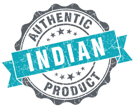 Indian product blue grunge retro style isolated seal photo