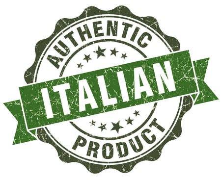 Italian product green grunge retro style isolated seal photo