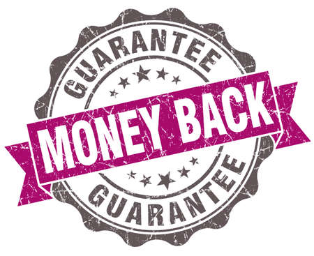 Money back violet grunge retro style isolated seal photo