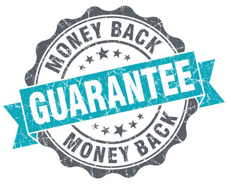 Money back guarantee blue grunge retro style isolated seal photo