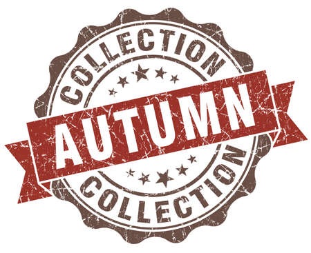 Autumn collection brown grunge retro style isolated seal photo