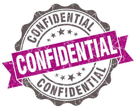Confidential violet grunge retro style isolated seal photo