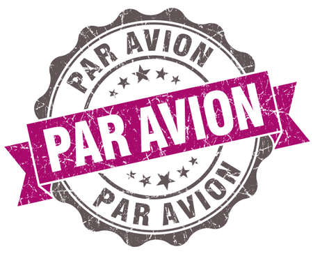 par: Par avion violet grunge retro style isolated seal