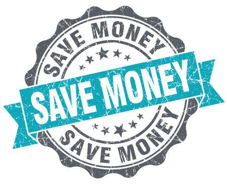 Save money turquoise grunge retro style isolated seal photo