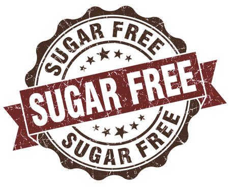 sweetener: Sugar free brown grunge retro style isolated seal Stock Photo