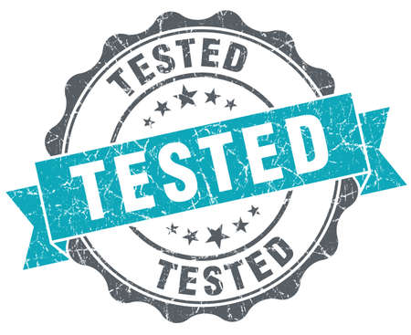 acceptation: Tested turquoise grunge retro style isolated seal Stock Photo
