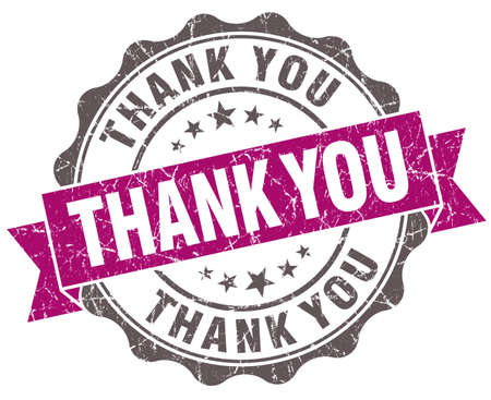 Thank you violet grunge retro style isolated seal photo
