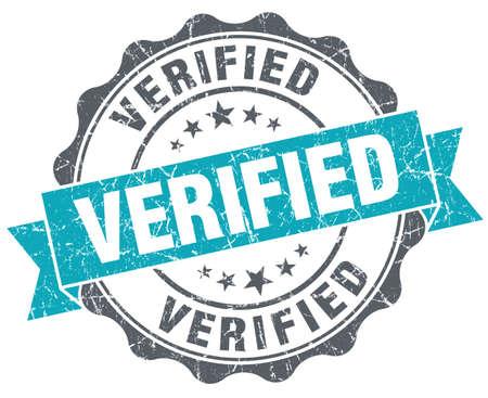 acceptation: Verified turquoise grunge retro style isolated seal