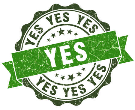 yes you can: Yes green grunge retro style isolated seal Stock Photo