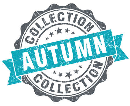 Autumn collection blue grunge retro style isolated seal photo