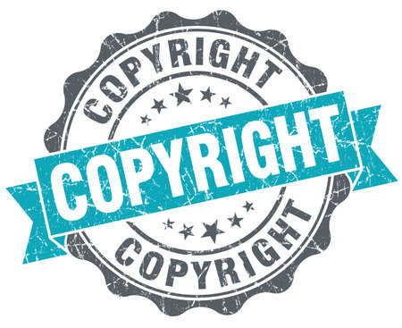Copyright blue grunge retro style isolated seal photo