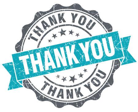 gratefulness: Gracias sellar aislado grunge estilo retro de color turquesa