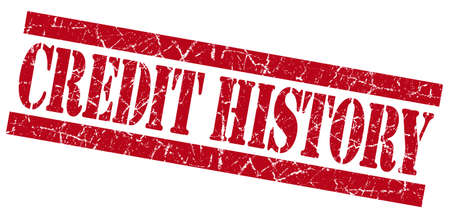 bank records: Credit history red square grunge textured stamp isolated on white