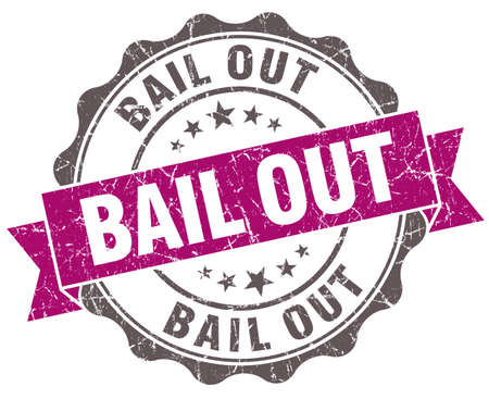 bail: Bail out violet grunge retro style isolated seal Stock Photo