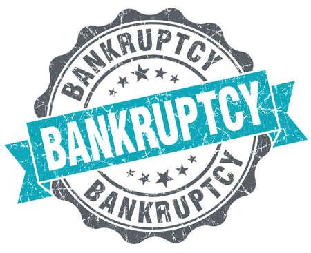 moneyless: Bankruptcy blue grunge retro style isolated seal Stock Photo