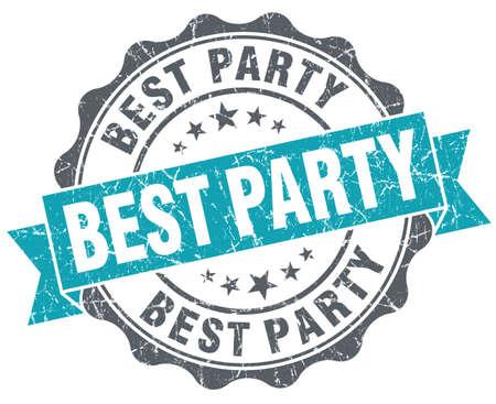 best party: Miglior partito blu grunge stile retr� isolato sigillo