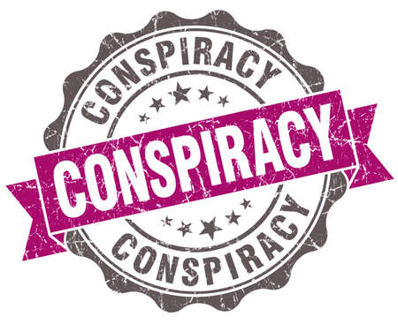 conspire: Conspiracy violet grunge retro vintage isolated seal Stock Photo