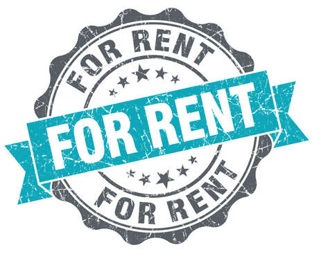 renter: For rent turquoise grunge retro vintage isolated seal Stock Photo