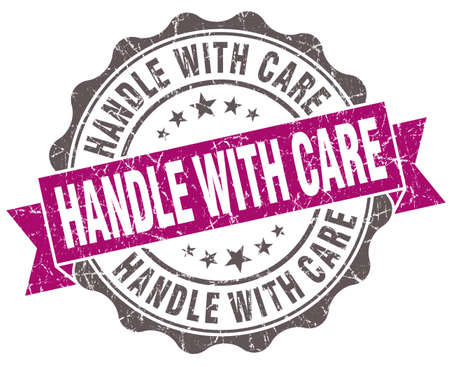 Handle with care violet grunge retro vintage isolated seal photo