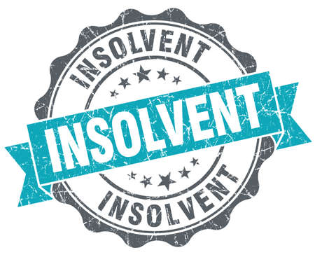 insolvent: Insolvent turquoise grunge retro vintage isolated seal Stock Photo