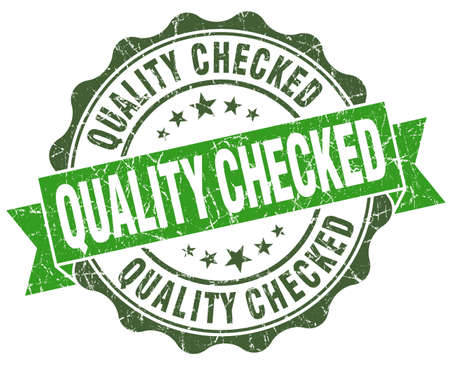 assured: Quality checked green grunge retro vintage isolated seal Stock Photo