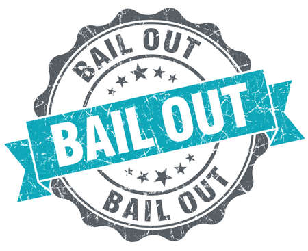 bail: Bail out blue grunge retro style isolated seal
