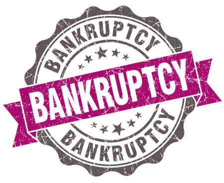 moneyless: Bankruptcy violet grunge retro style isolated seal