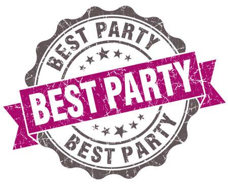 best party: Miglior viola grunge festa stile retr� isolato sigillo Archivio Fotografico