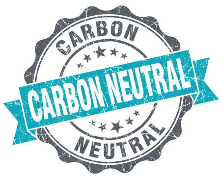 carbon neutral: Carbon neutral turquoise grunge retro vintage isolated seal