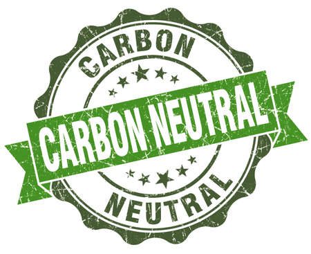 carbon neutral: Carbon neutral green grunge retro vintage isolated seal