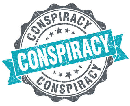 conspire: Conspiracy turquoise grunge retro vintage isolated seal Stock Photo