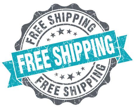 Free shipping turquoise grunge retro vintage isolated seal Stock Photo