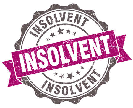 insolvent: Insolvent violet grunge retro vintage isolated seal