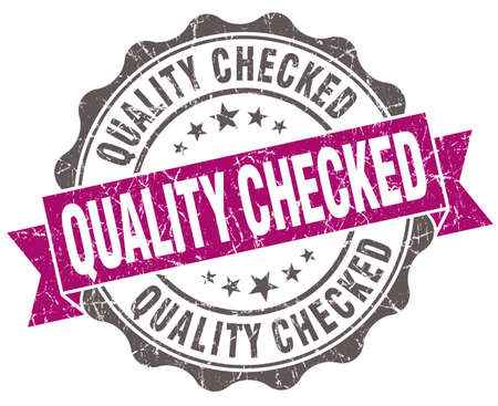 ratified: Quality checked violet grunge retro vintage isolated seal